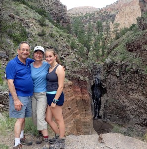 Author Christy Mihaly and family at the Bandolier National Monument in New Mexico.
